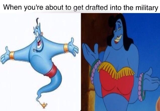 Robin Williams Aladdin Genie turning into a girl in dank meme about avoiding being drafted into the military.