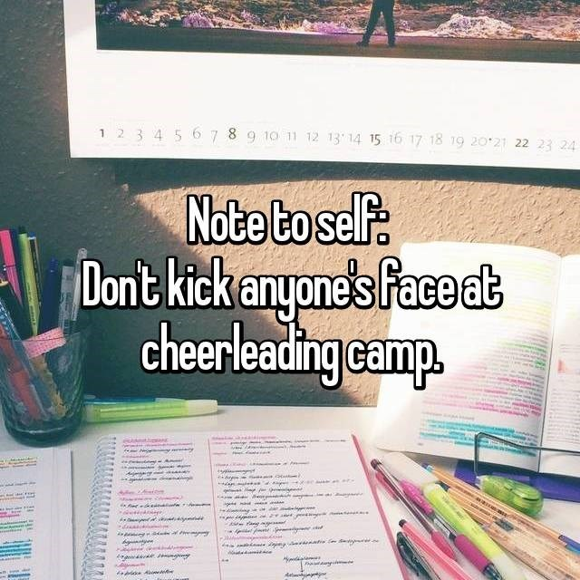 Text - 1 2 3 4 56 789 10 11 12 13 14 15 16 17 18 19 20 21 22 23 24 Note boself Oont kick anyone's face dt cheerleading camp. d a