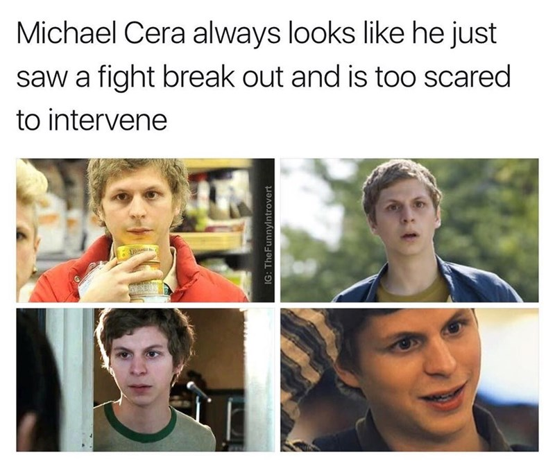 Funny meme about how michael Cera always looks like he's witnessing a fight break out but is scared to intervene.