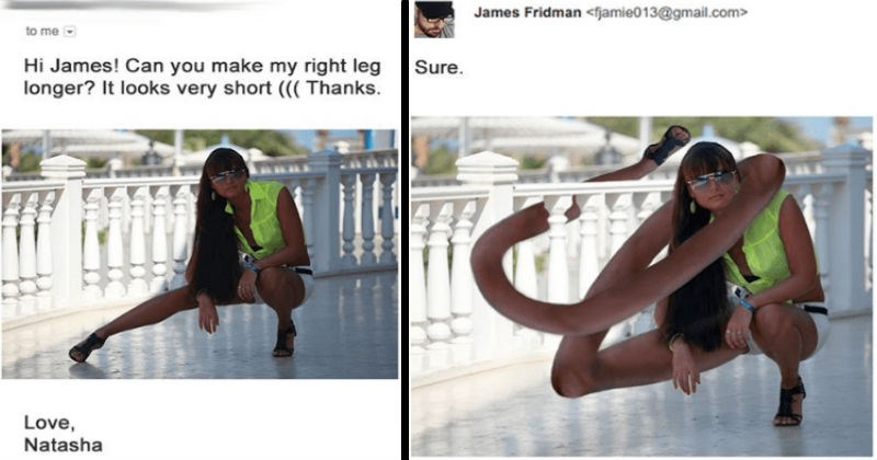 A collection of times that James Fridman hilariously trolled people's photoshop requests online.
