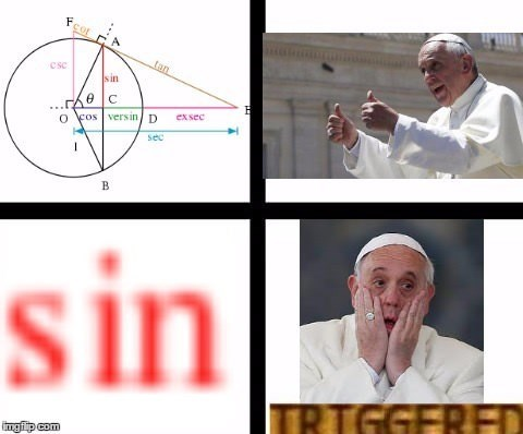 Saucy pope meme of funny similarity of the math symbols Sin and the popes fear of committing sins.