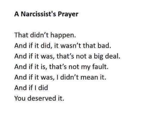Funny meme of how a narcissist prays.