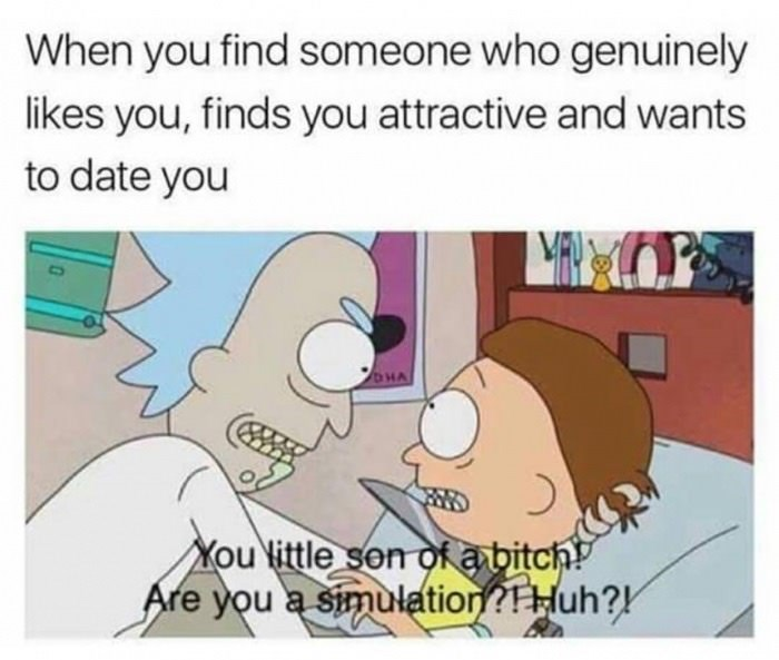 Futurama funny meme about not buying it when someone genuinely likes you and finds you attractive and wants to date you.