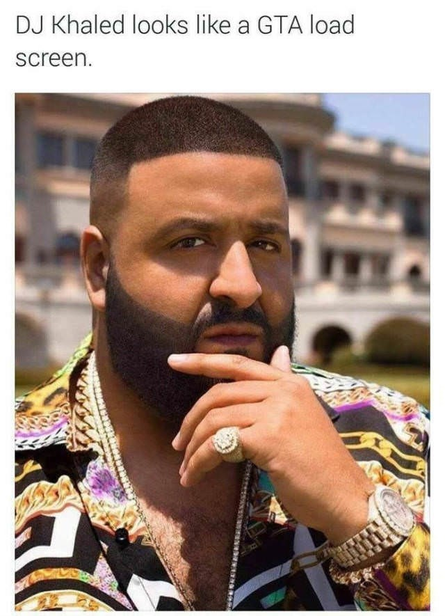 Funny meme of DJ Khaled in which he seriously looks like the load screen in Grand Theft Auto video game.