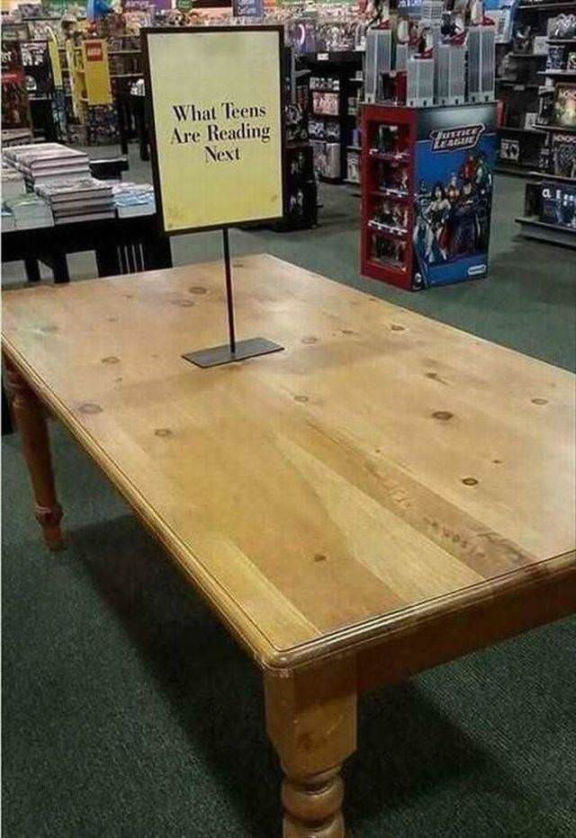 sad meme of empty table at a book store of what teens are reading