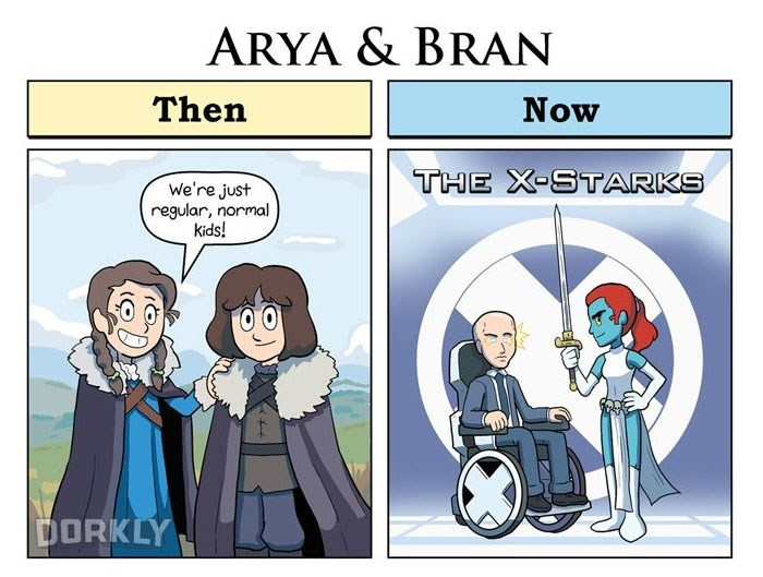 Funny comic by George Rottkamp about how Game of Throne characters Arya and Bran were just normal kids in the first season, and now are more like X-starks