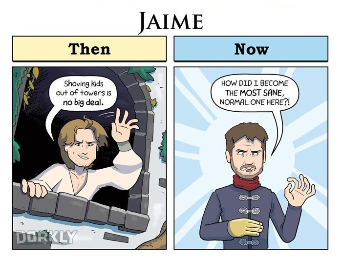 George Rottkamp comic pointing out how much Game of Thrones character Jaime has changed from the first episode in which throwing out kids from a tower was no big deal and now when he is the only normal one in Winterfell.