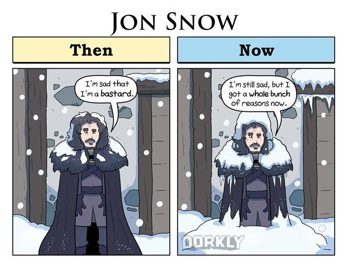 Web comic by George Rottkamp of Jon Snow and how he has many reason's to be a bastard now.
