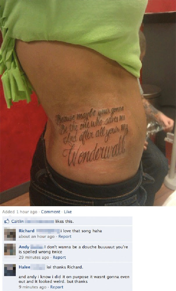 Spelling error on tattoo to even it out