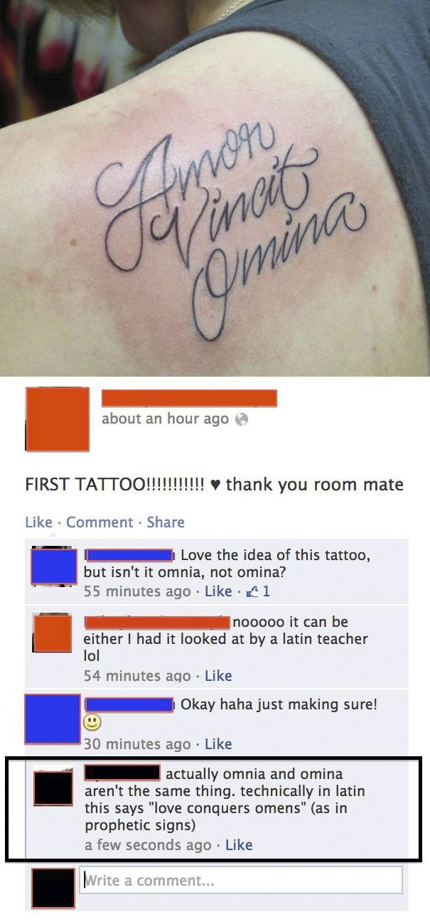 Latin tattoo with spelling failure