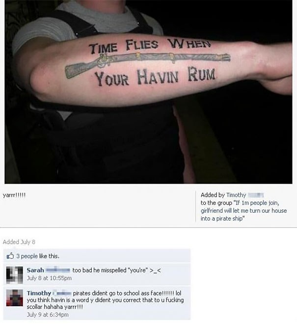 Misspelled pirate tattoo on forearm