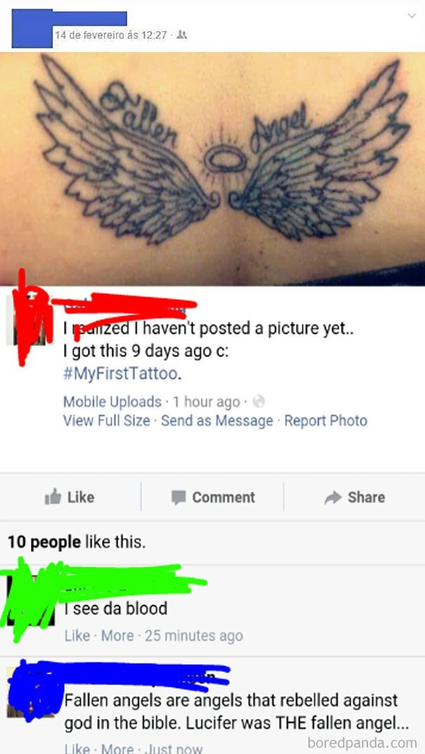 Tattoo of fallen angel wings and someone points out that Lucifer was a fallen angel.