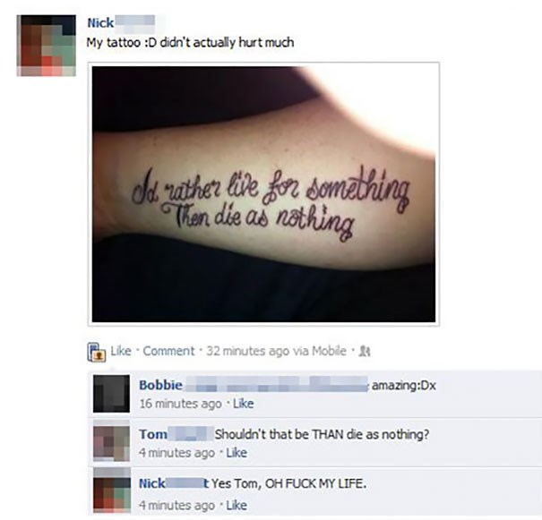Than/Then misspelling on tattoo that really ruins the message