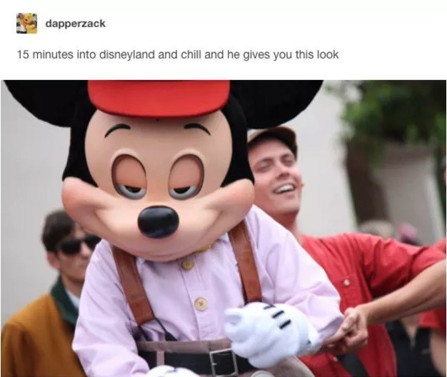 Animated cartoon - dapperzack 15 minutes into disneyland and chill and he gives you this look