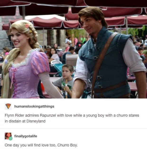People - humanslookingatthings Flynn Rider admires Rapunzel with love while a young boy with a churro stares in disdain at Disneyland finallygotalife One day you will find love too, Churro Boy.