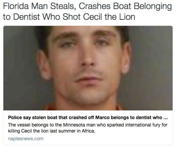 Florida man steals the boat that belonged to the dentist that shot cecil the lion