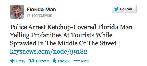 Florida man covered in ketchup and yelling at people while sprawled on the street