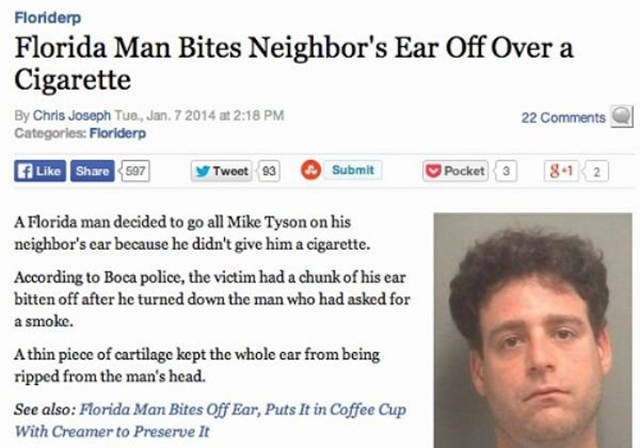 Florida man bites his neighbor's ear off