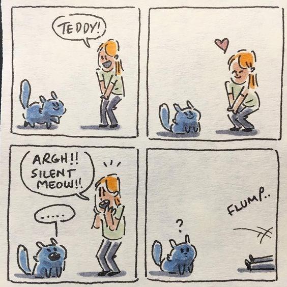 Cartoon - TEDDY! ARGH!! SILENT MEOW! FLUMP