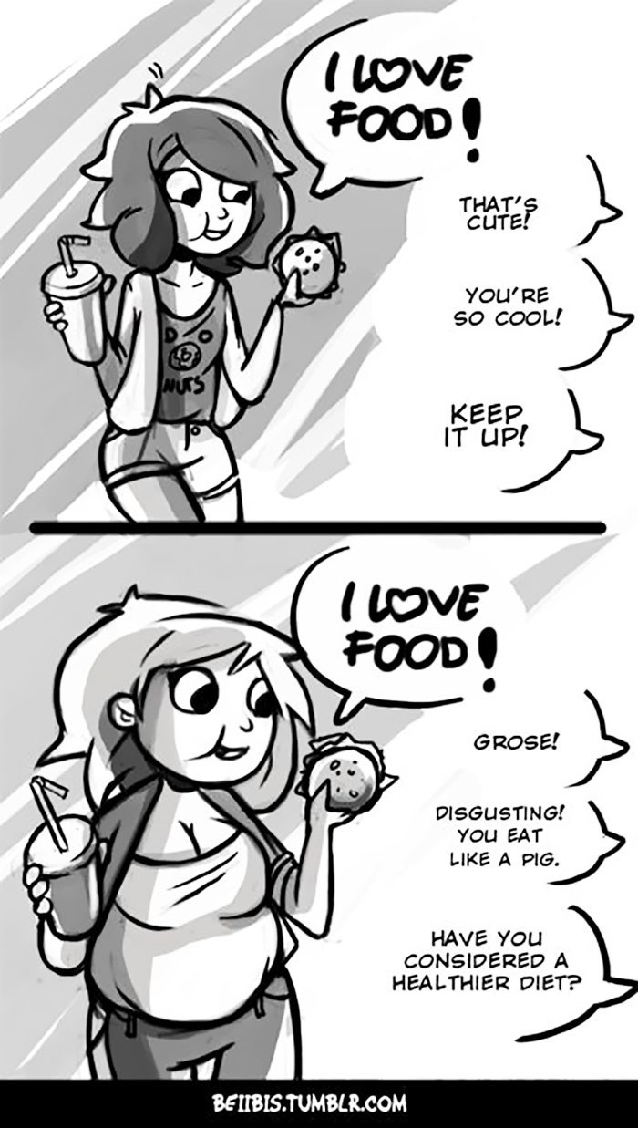 Cartoon - IoVE FOOD THAT'S CUTE! YOu'RE SO COOL! NUTS KEEP IT UP! IoVE FOOD GROSE! DISGUSTING! YOu EAT LIKE A PIG. HAVE YOu CONSIDERED A HEALTHIER DIET? BEIIBIS.TUMBLR.COM