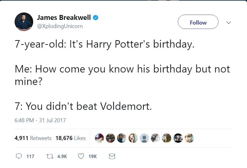 Tweet of parent asking kid how come he knows Harry Potter's birthday but not dads.