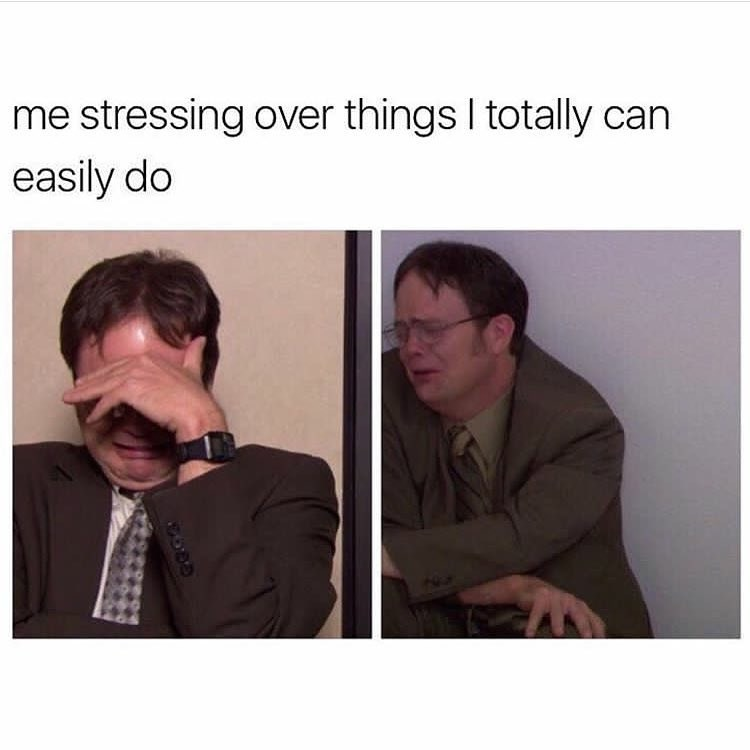 Funny meme about stressing out over things you can do.