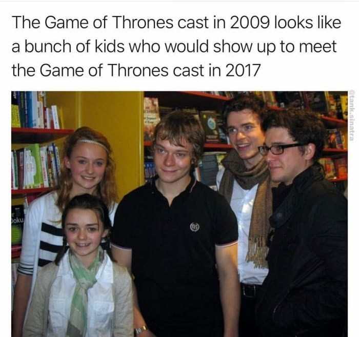 Funny meme of the Game Of Thrones cast in 2009 looks like a bunch of kids who would show up to meet the Game of Thrones cast in 2017