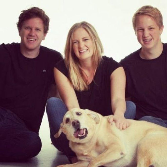 Nice family photo sort of ruined by the dogs crossed eyes and startled expression.