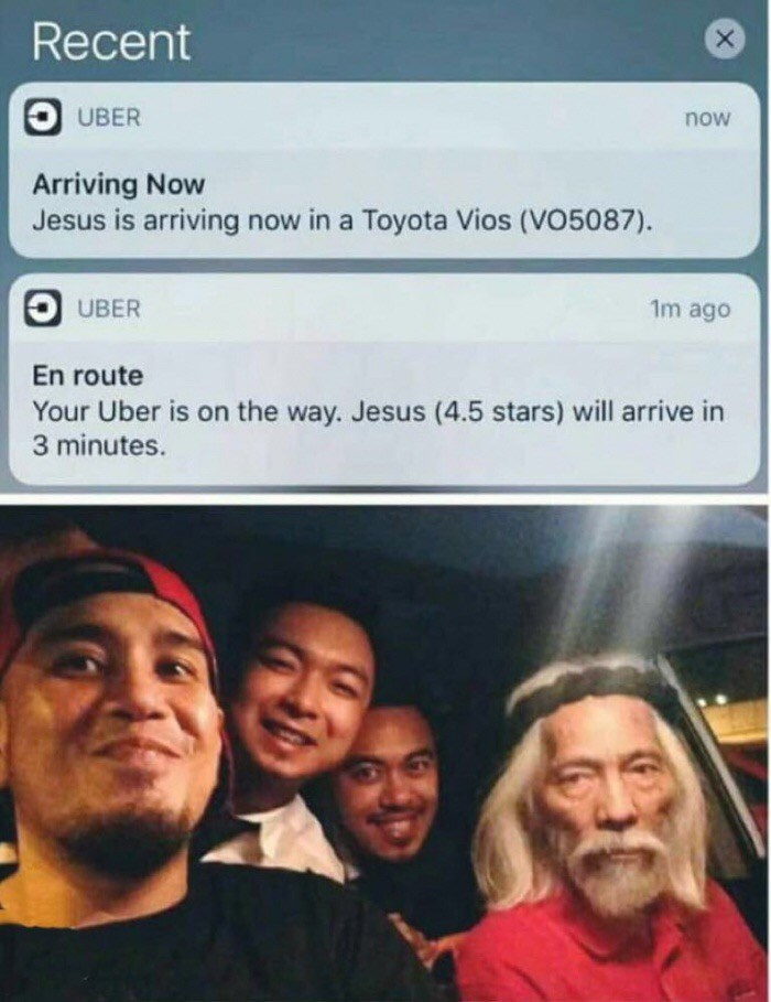 Face - Recent O UBER now Arriving Now Jesus is arriving now in a Toyota Vios (VO5087). UBER 1m ago En route Your Uber is on the way. Jesus (4.5 stars) will arrive in 3 minutes.