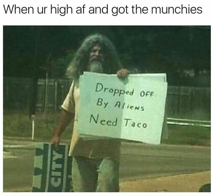 Text - When ur high af and got the munchies Dropped OfF By Atiens Need Taco CITY