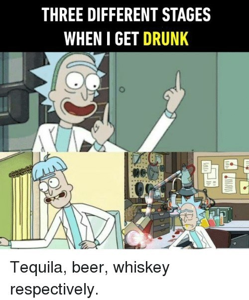 stages of getting drunk with pics of Rick in different situations