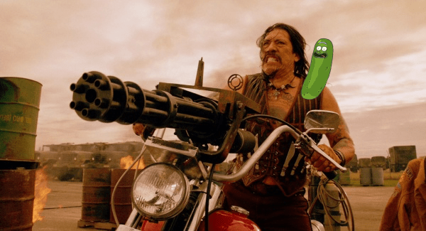 still from the movie Cyborg X of Danny Trejo with pickle Rick on his shoulder