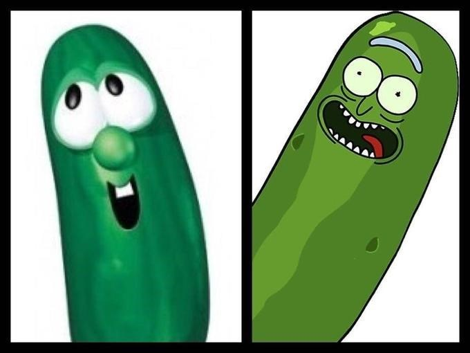 comparison between pickle Rick and the cucumber from VeggieTales