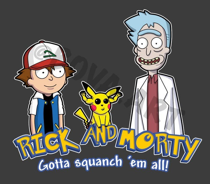 Rick and Morty drawn as characters from Pokemon