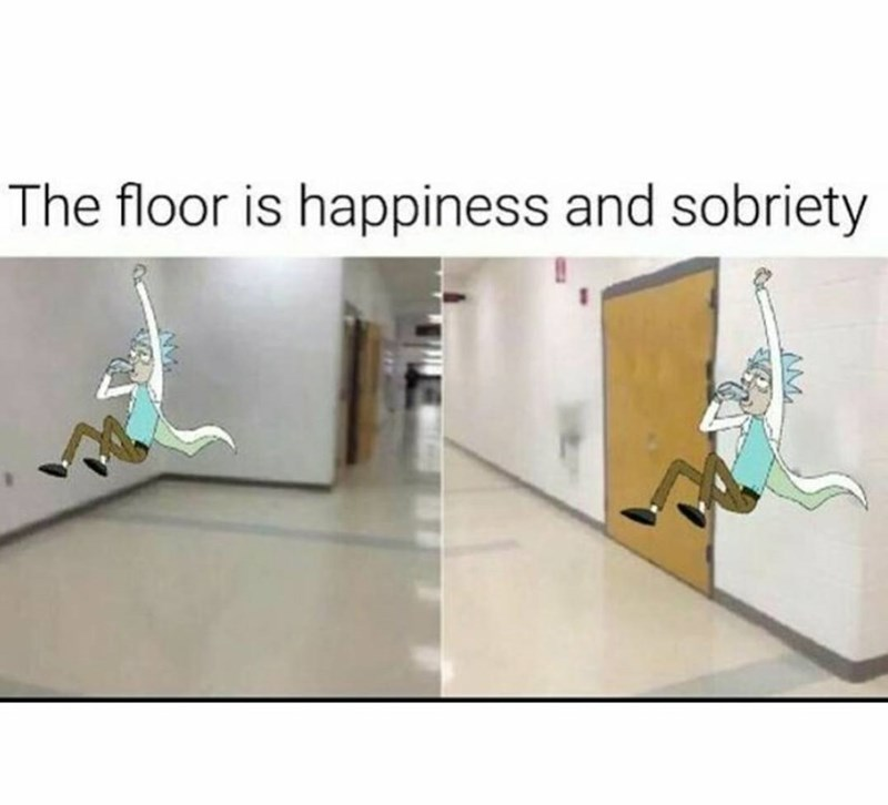 """""""the floor is lava"""" meme about Rick being drunk and unhappy"""