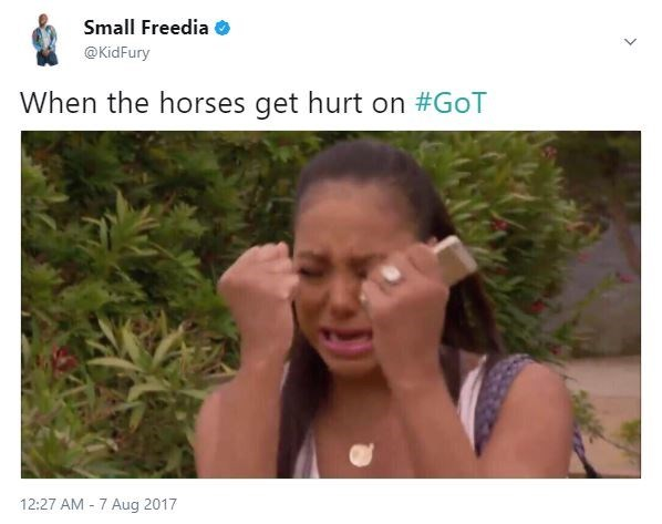 Meme about being sad when the horses get hurt in Game of Thrones