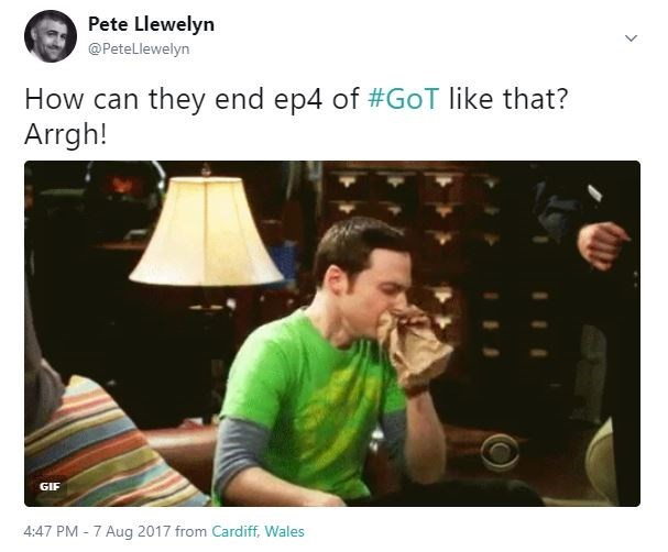 Funny meme of Sheldon Cooper from The Big Bang Threory hyperventilating that GoT ended episode 4 just like that.