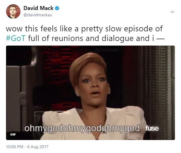 Rihanna reaction meme about how at first Episode 4 seemed like a slow Game Of Thrones episode, but OMG