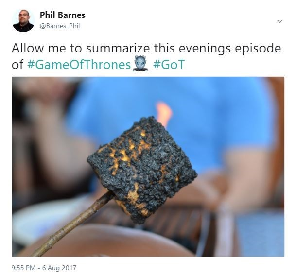 Tweet summarizing episode 4 of game of thrones with a burn to a crisp marshmallow.