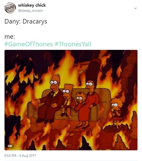 Meme about the fire of Dracarys and the fun of watching Game of Thrones.