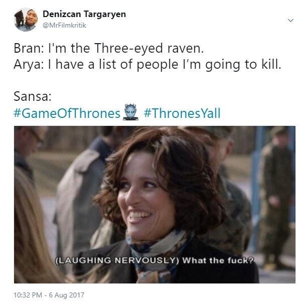 Julia Louis-Dreyfus meme about how Sansa must have felt when Bran said he is the 3 eyed raven and Arya has a list of people she wants to kill.
