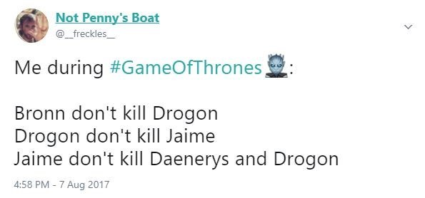 Funny meme about how you don't want anyone to kill anyone in the battle scene in episode 4 of Game of Thrones season 7