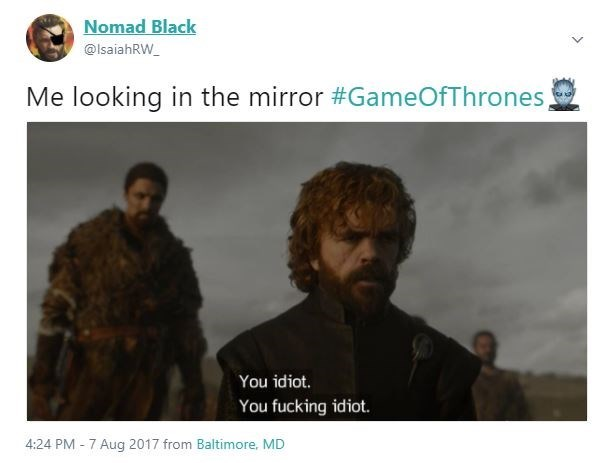 Meme made of the scene of Tyronn Lannister saying You Idiot, You Fucking Idiot as how it feels to looki in the mirror