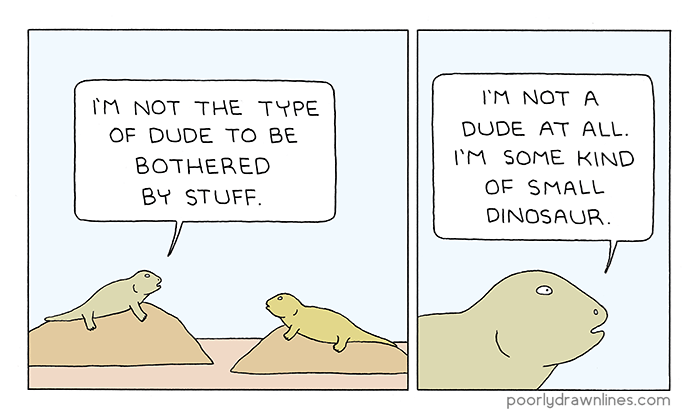 Webcomic of a dinosaur have a reflective moment