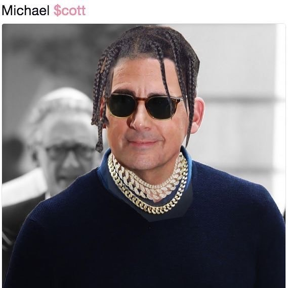 Funny meme about Steve Carrell made to look like a Soundcloud rapper.