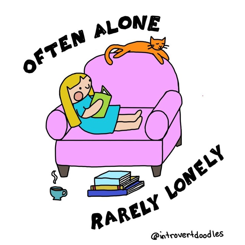 Cartoon - FTEN ALONE RARELY LONELY introvertdoodles