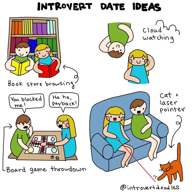 Cartoon - INTROVERT DATE IDEAS Cloud wat ching Book store brovsing Cat + Ha ha payback! You blocked me! laser Pointer Board game throwdown @introvertdood les