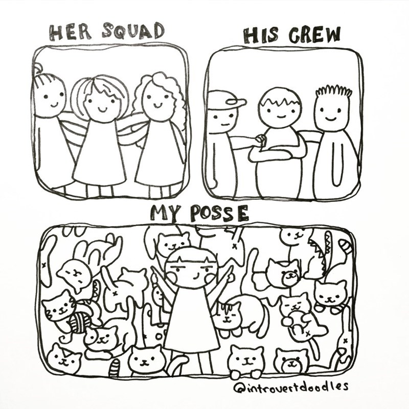 White - HER SQUAD HIS GREW MY POSSE introvertdoodles