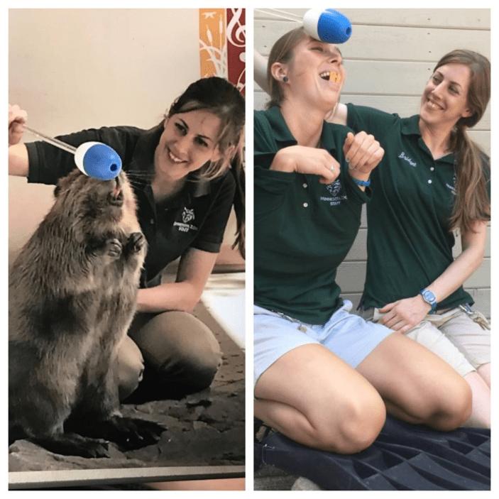 Zoo keeper posing like a happy capybara