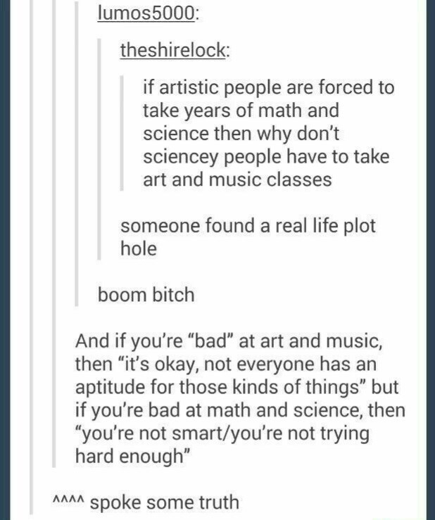 """school meme - Text - lumos5000: theshirelock: if artistic people are forced to take years of math and science then why don't sciencey people have to take art and music classes someone found a real life plot hole boom bitch And if you're """"bad"""" at art and music, then """"it's okay, not everyone has an aptitude for those kinds of things"""" but if you're bad at math and science, then """"you're not smart/you're not trying hard enough"""" spoke some truth ΛΛΛ"""